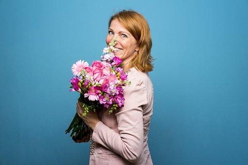 woman pink flowers